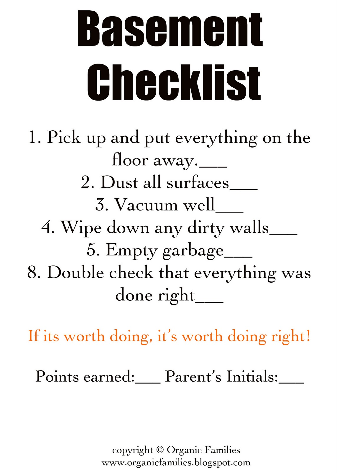 Kids Chores List Checklist