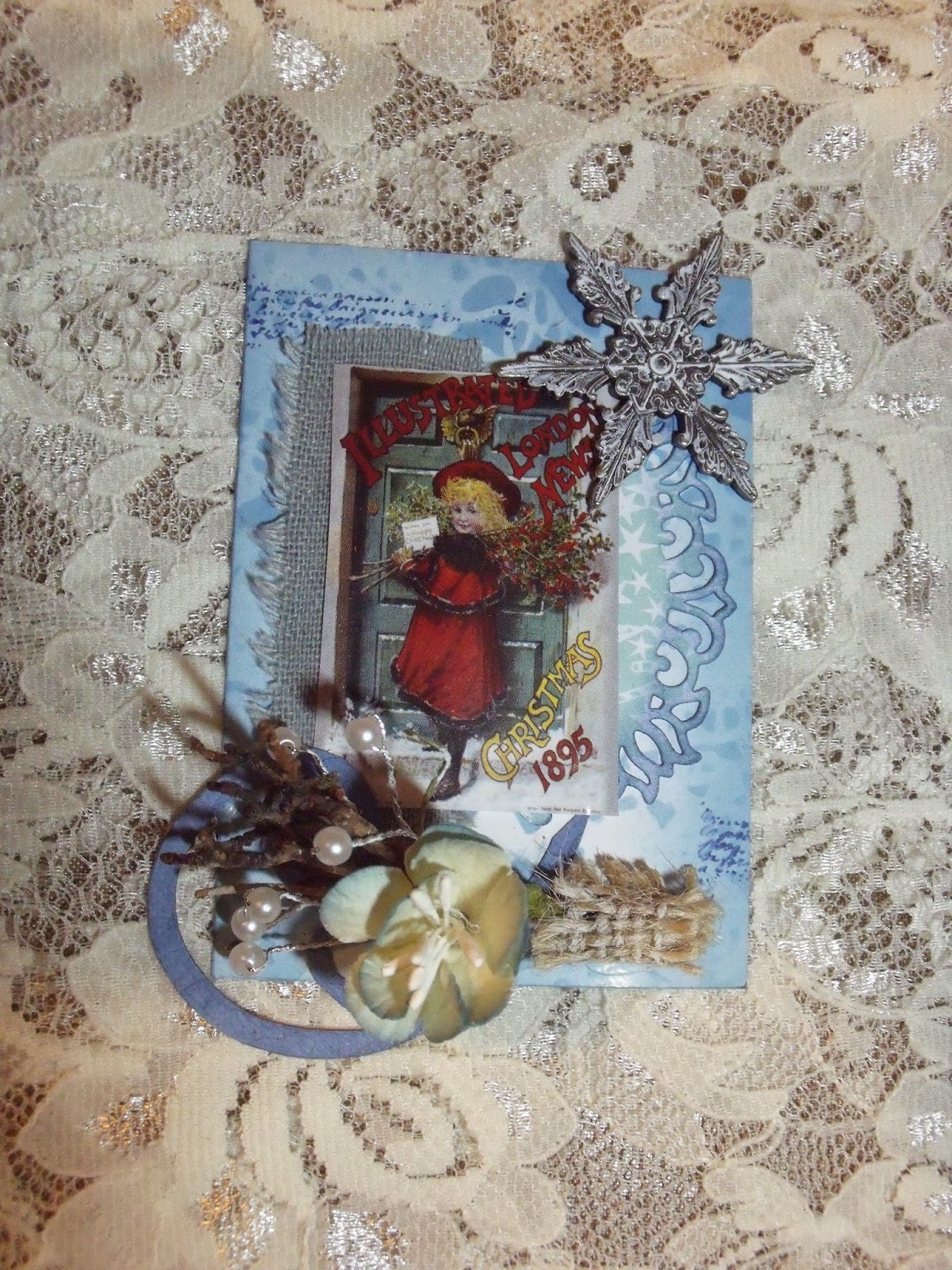 Pearshapedcrafting december 2014 i used tims doyly stencil with faded jeans distress ink for the background the twigs and pearls at the bottom were from an m and s napkin ring i painted m4hsunfo