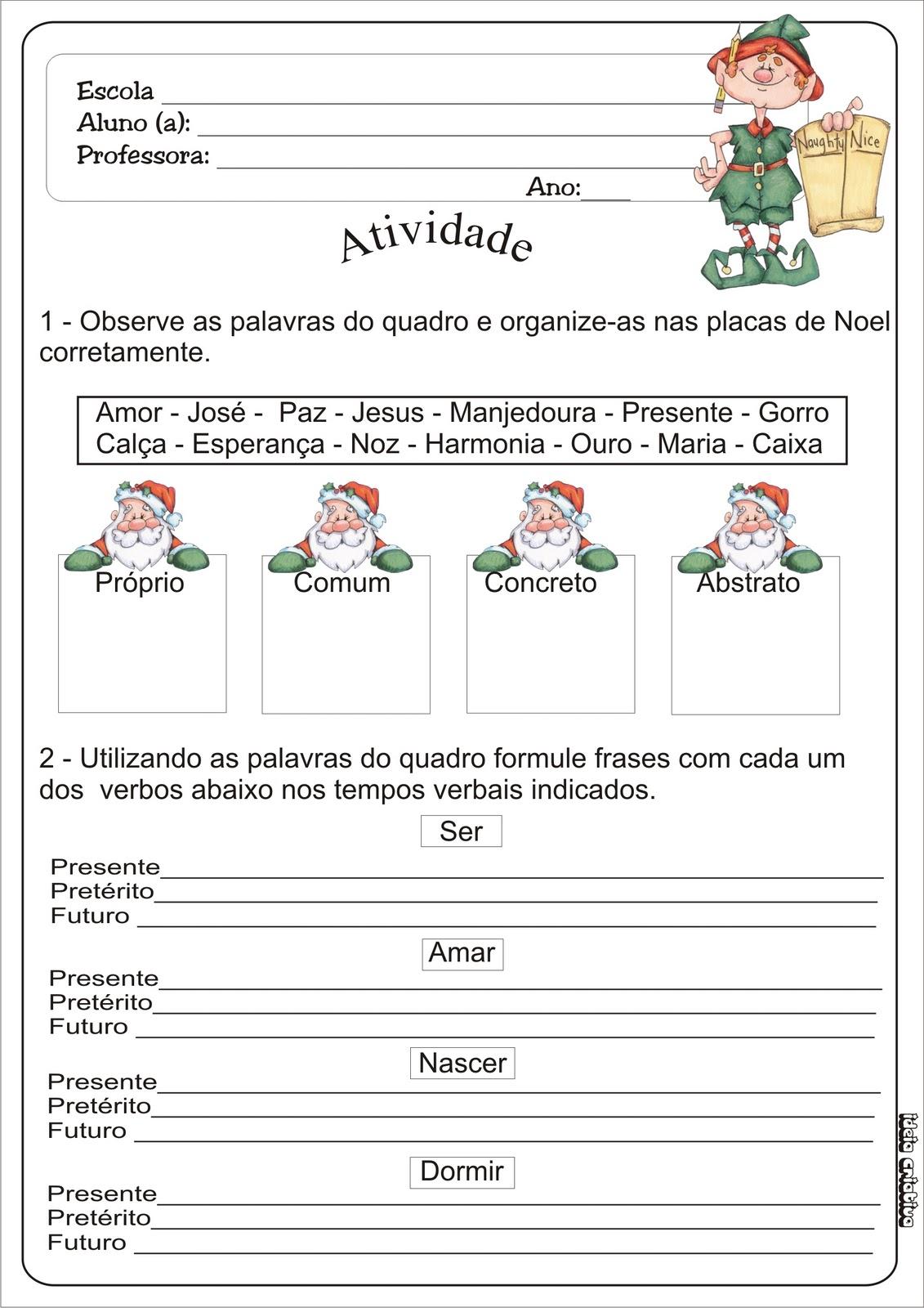 Atividade Natal Substantivo e Verbo