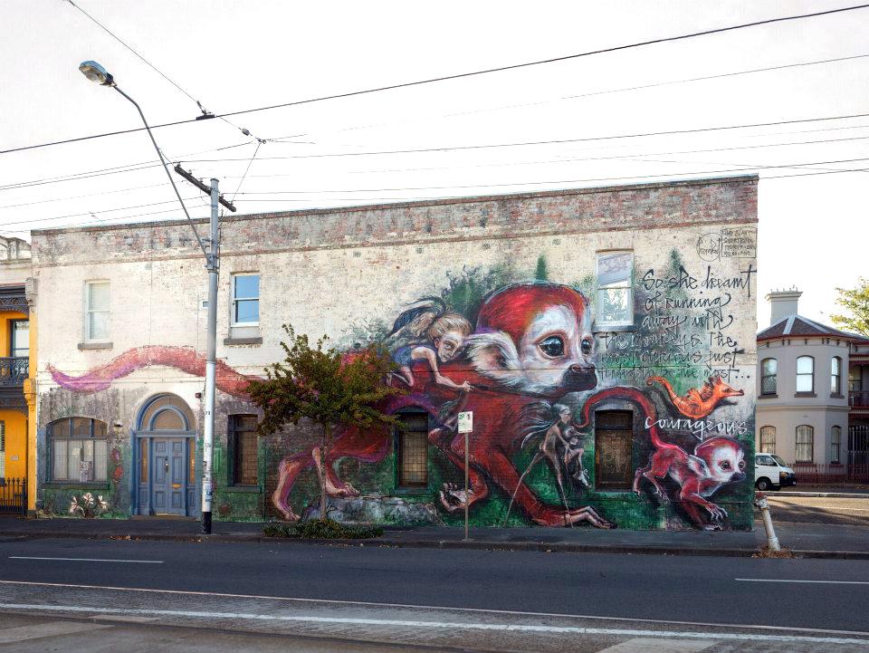 Herakut new mural in melbourne australia streetartnews for Australian mural