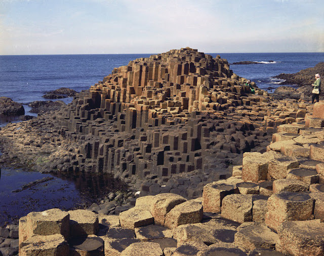 Giant's Causeway. Looking N. The Middle Causeway. Columnar tholeiitic lava. Old photograph number:  NI00710