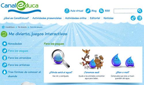Juegos interactivos para niños y niñas sobre la importancia del agua