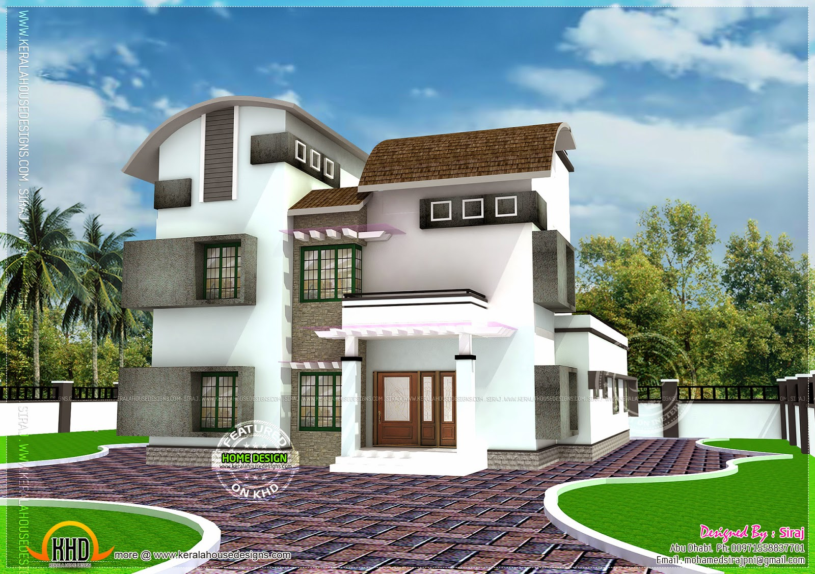 239 square yards modern house home kerala plans for Modern house plans for 1600 sq ft