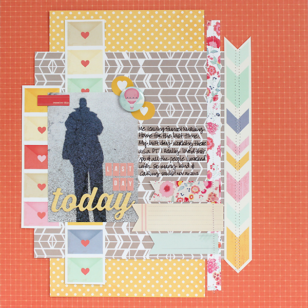 A scrapbook layout about work using a mix of American Crafts and Studio Calico products by Juliana Michaels