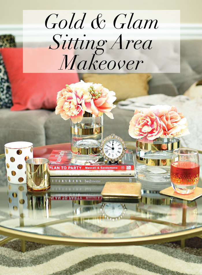 A sitting area gets a makeover featuring a gorgeous gold table, leather chair and desk/bar via monicawantsit.com
