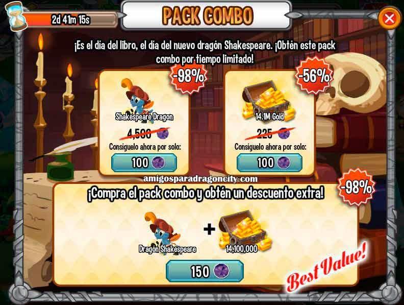imagen de la oferta del dragon shakespeare de dragon city