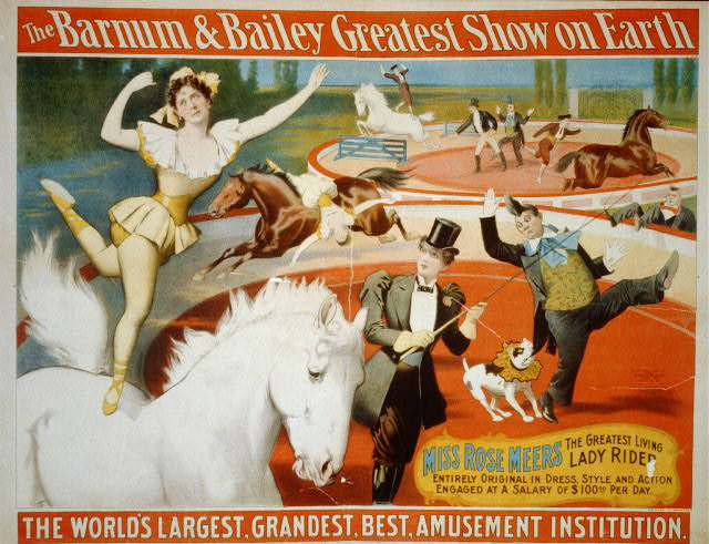 circus, classic posters, free download, graphic design, retro prints, vintage, vintage posters, The Barnum & Bailey Greatest Show on Earth, Miss Rose Meers, Lady Rider -  Vintage Circus Poster