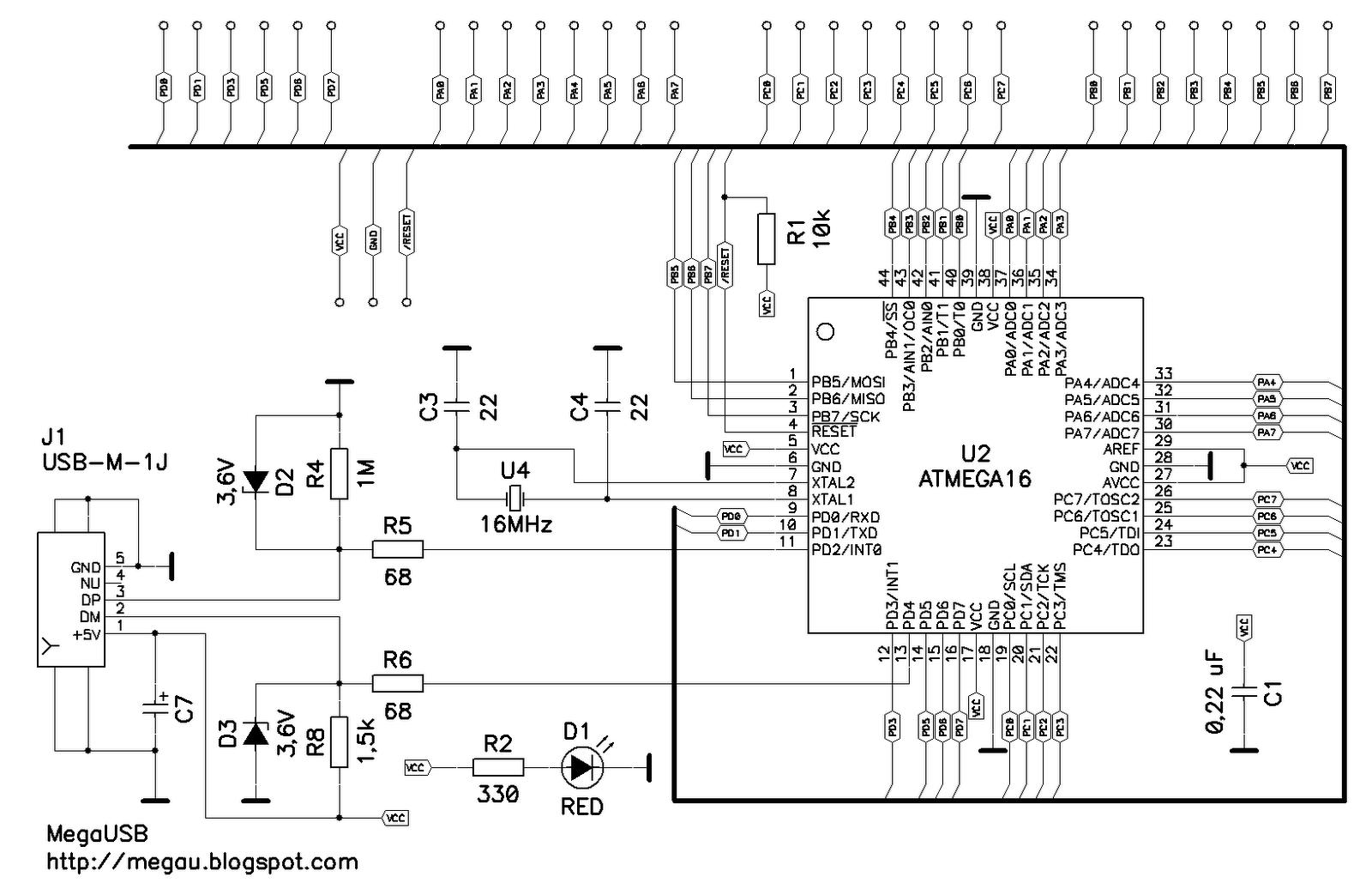 микроконтроллер atmega16 структурная схема