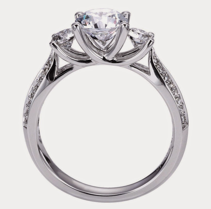 Vintage Style 3 Diamond Engagement Rings Model pictures hd
