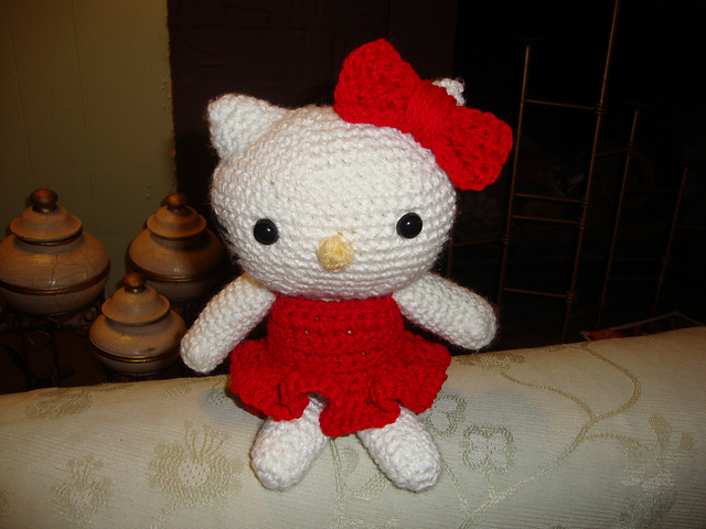 Hello Kitty adorable purse crochet by CrochetPuffyLove on Zibbet