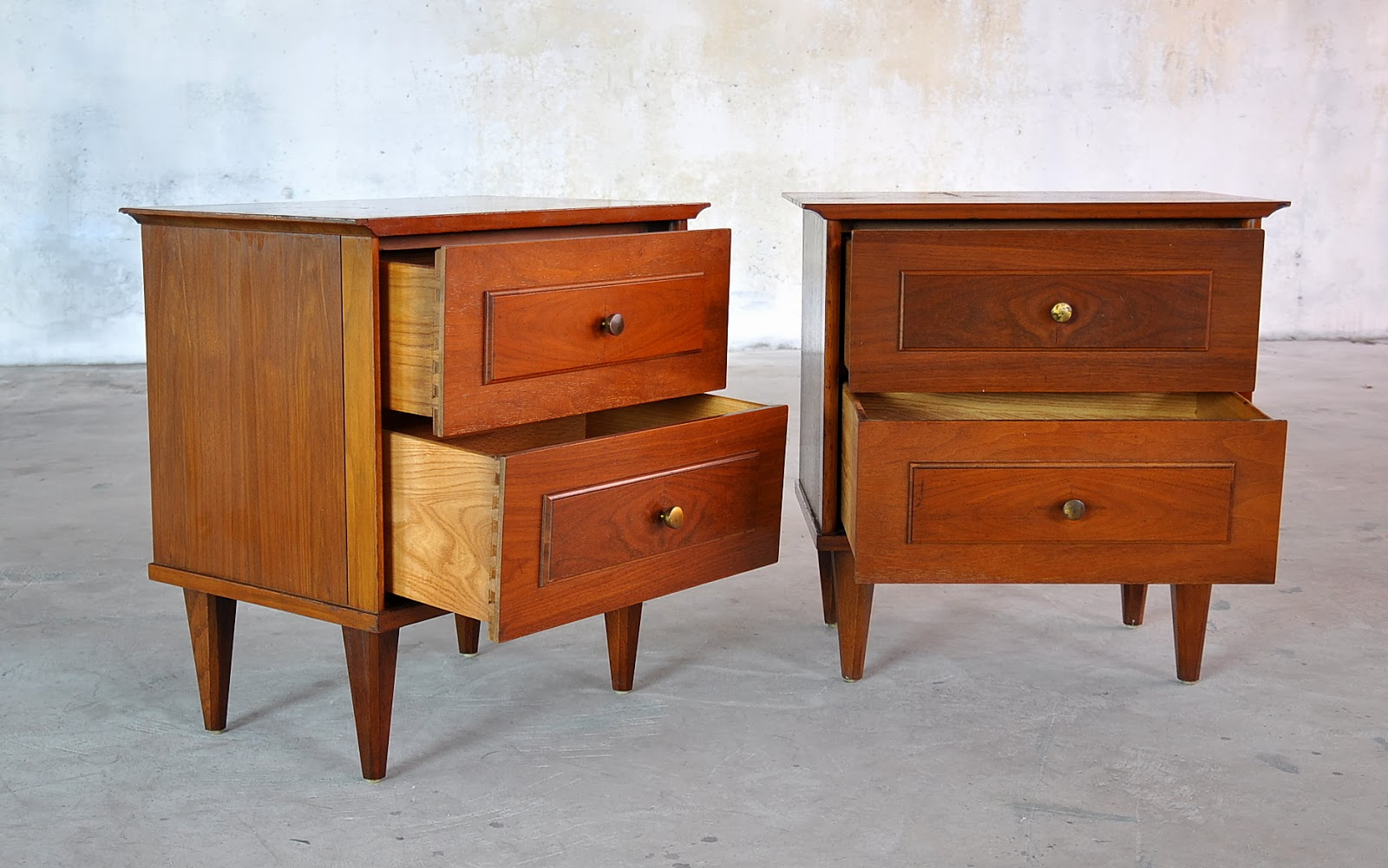 Select Modern Pair Of Mid Century Nightstands Side Or