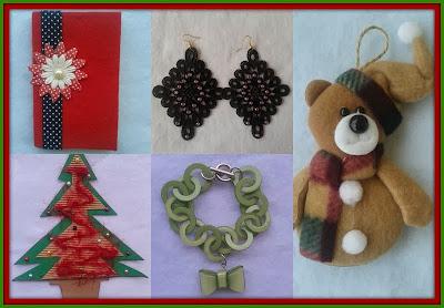 regalos handmade recibidos por el intercambio de navidad 2013: libreta, pulsera, colgante para el árbol, tarjeta de navidad y pendientes