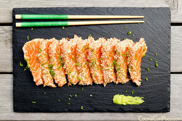 Tataki de salmon con sesamo - Receta paso a paso