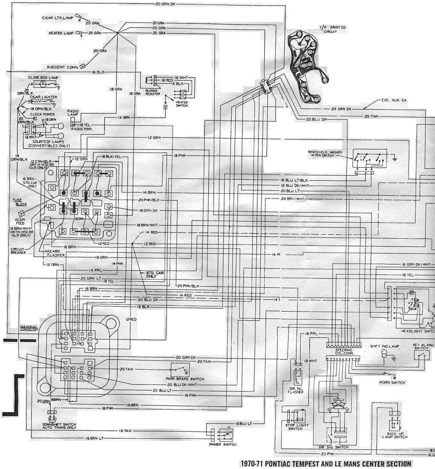 Pontiac+Tempest+and+LeMans+1970 1971+Center+Section+Schematic+Diagram pontiac tempest and lemans 1970 1971 center section schematic 1967 pontiac gto wiring diagram at bayanpartner.co