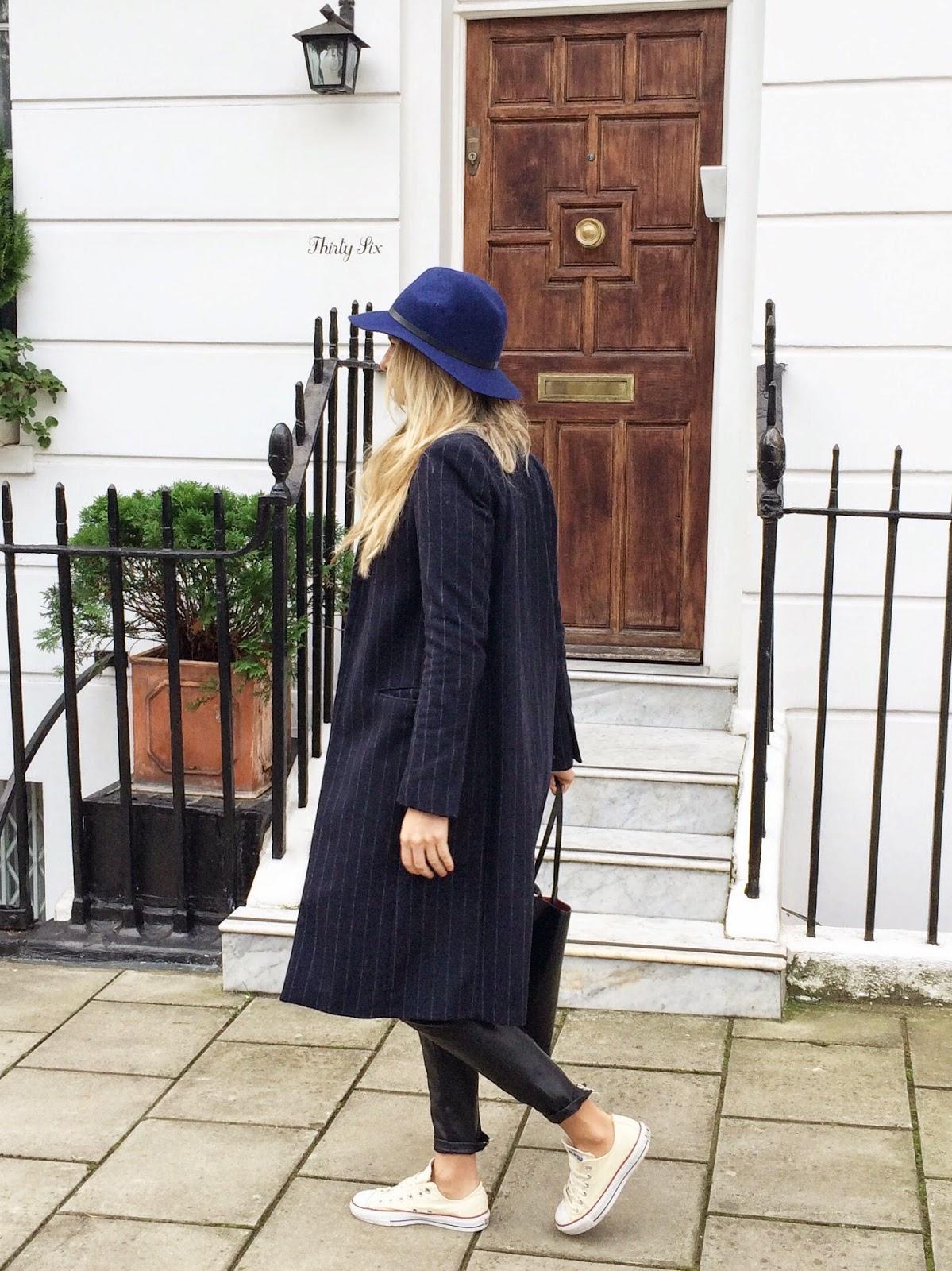 pin striped coat, blue coat, zara pinstriped coat, long blue coat, leather pants, converse, blue hat, topshop hat, london, london blogger, london street style