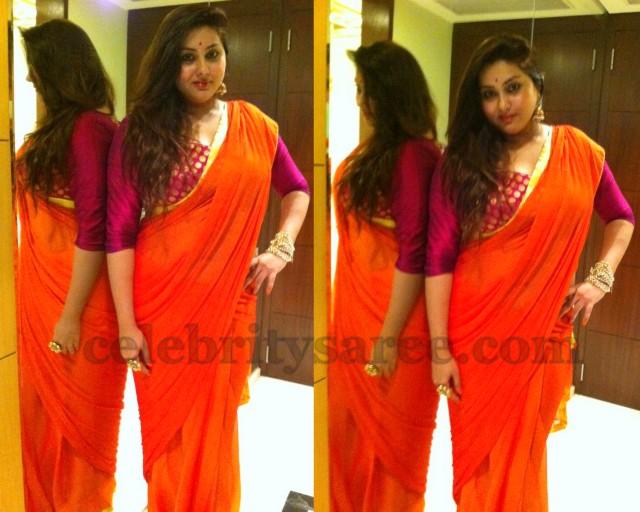 Namitha in Quarter Sleeves Blouse