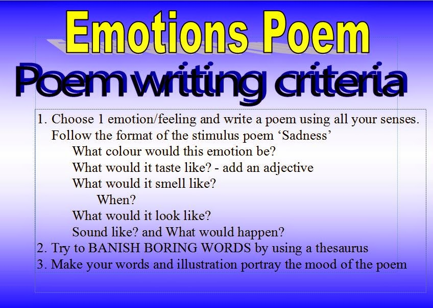 the emotions explored in the poems Poetry is an effective and popular literary medium for expressing emotion and although i had done little writing previously, i really enjoyed the attempt and am very happy with my final products.