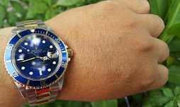 Sold ROLEX SUBMARINER SUNBURST BLUE DIAL - TWO TONE - ROLEX 16613