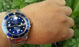 Sold ROLEX SUBMARINER SUNBURST BLUE DIAL - TWO TONE - ROLEX 16613
