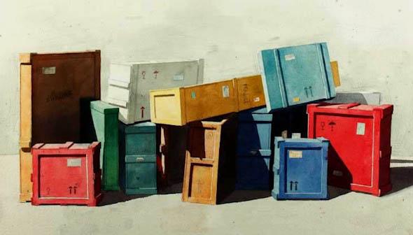 Cajas de emabalaje de diversos colores amontonadas