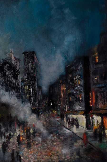 Zachary Johnson pinturas cidades a noite solitárias