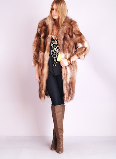 Vintage 1960's red fox fur bohemian style coat with scalloped hemline.