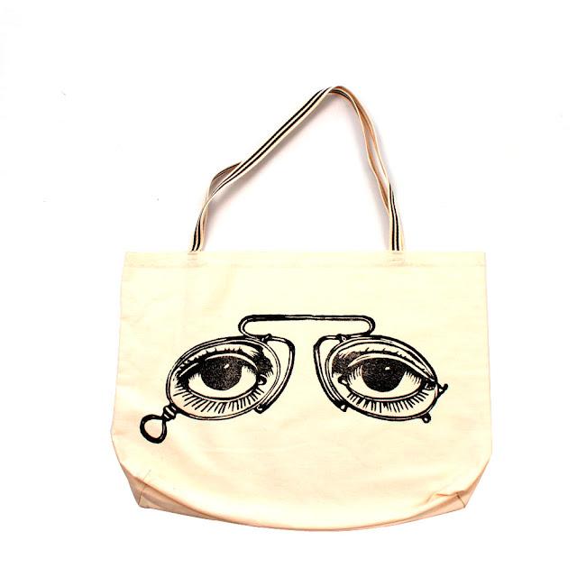 Bolsa Ecobag com estampa em Xilogravura Xilo Shirt Série Óculos