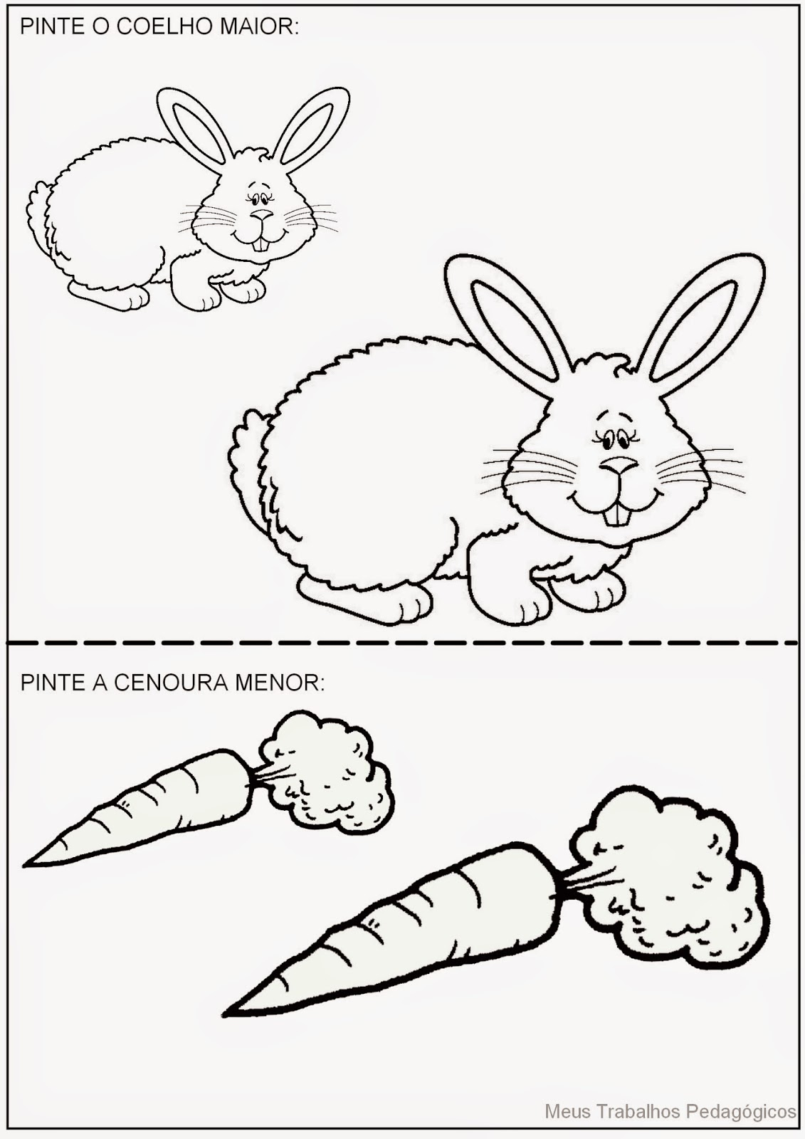 Meus Trabalhos Pedagógicos ®: Atividade coelho e cenoura - maior e ...