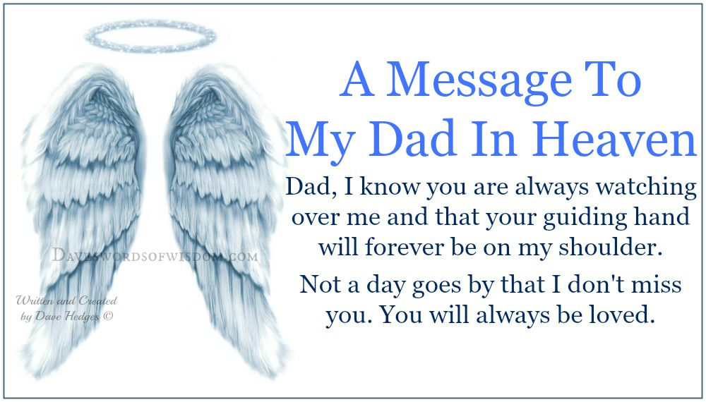 Daveswordsofwisdom A Message To My Dad In Heaven