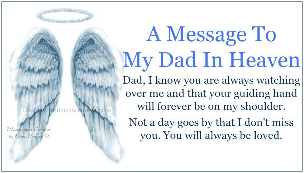 Daveswordsofwisdom Com A Message To My Dad In Heaven