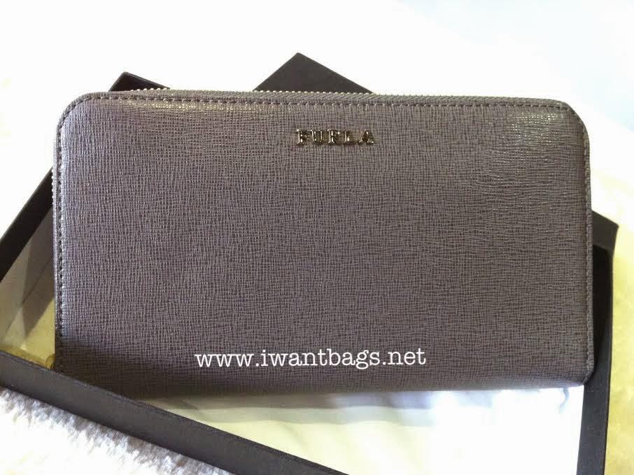 Furla Saffiano Zip Around Wallet-Grey