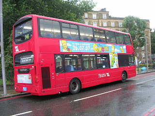 Modern red bus