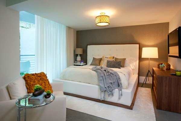 Elegant white blackout curtains for bedroom interior