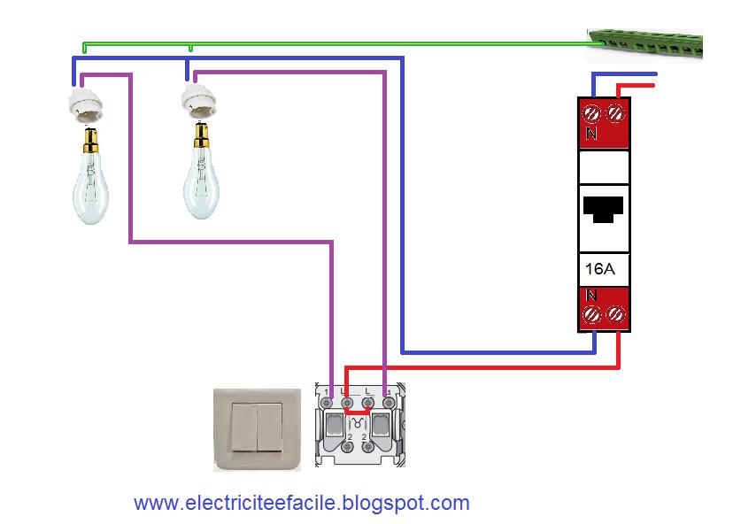 Schema electrique sch ma double allumage - Brancher un interrupteur double ...