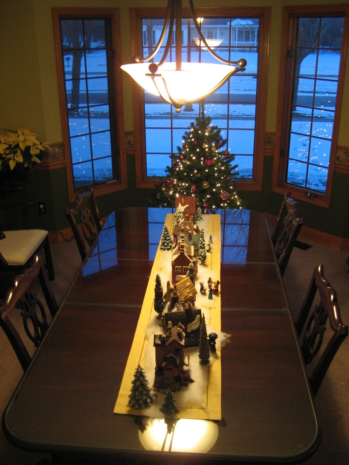 Down The Center Of Dining Room Table No Cords Just Trees And People Ill Leave Most These In Place As A Centerpiece For Christmas Dinner
