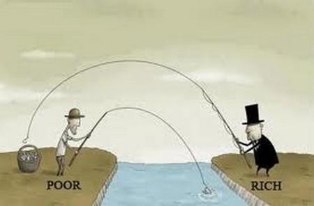 Tranh biếm người giàu và nghèo cùng câu cá