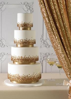 glitter wedding - wesele w złocie tort