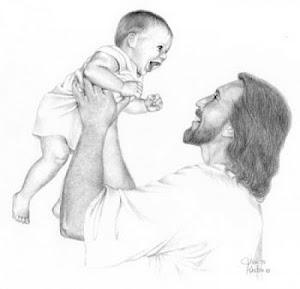 Letícia com 6 meses brincando com Jesus!