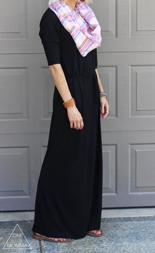 Black boyfriend maxi, striped scarf, brown sandals