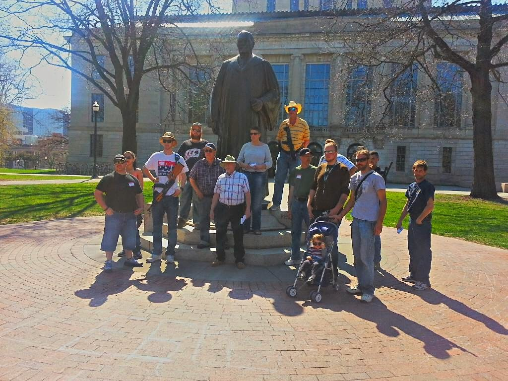 Open Carry Advocates protecting a statue!