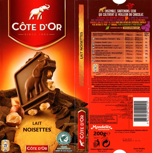 tablette de chocolat lait gourmand côte d'or lait noisettes