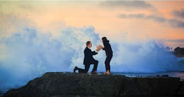 Marriage Proposal Fails - Proposal Intruded By Giant Waves