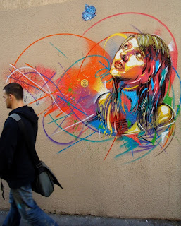 C215, street art, mural, large, stencil, girl, colorful, beautiful
