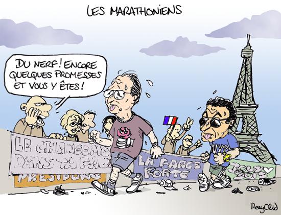 Hollande et Sarkozy et le marathon de Paris