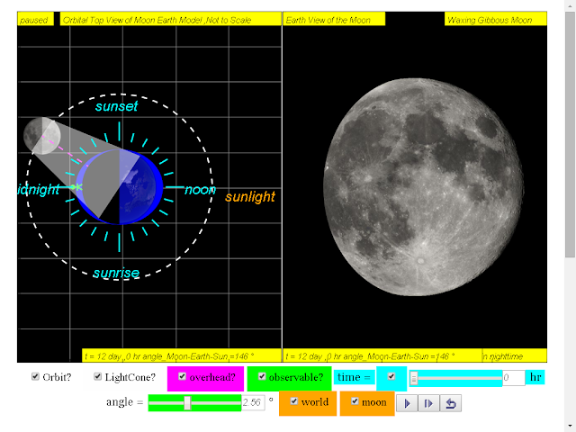 when day =12, it is waxing gibbous moon click to run: EJSS Moon Phases Model offline: DOWNLOAD, UNZIP and CLICK *.html to run source: EJSS SOURCE CODES original author: Todd Timberlake, lookang author of EJSS version: lookang