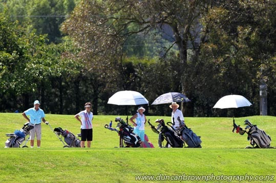 Golfers in the sun, Napier Golf Club, Waiohiki photograph