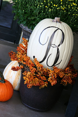 monogram pumpkin for fall front door decor
