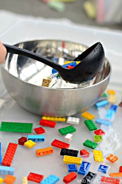 Working on fine motor skills with LEGO sensory soup - simple water sensory play for kids from And Next Comes L
