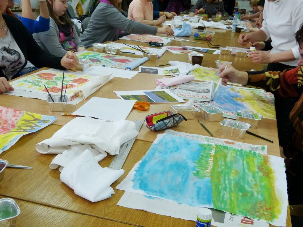 warsztaty rękodzielnicze, szycie jaśków, malarstwo na tkaninie, Centrum Edukacji Ekologicznej Ełk,