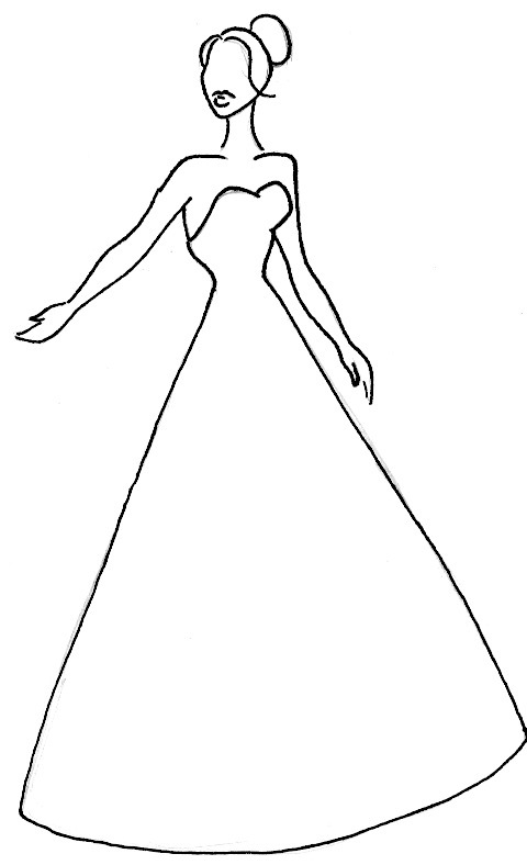 dress outline coloring pages - photo#19